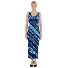 Mobile Phone Smartphone App Fitted Maxi Dress