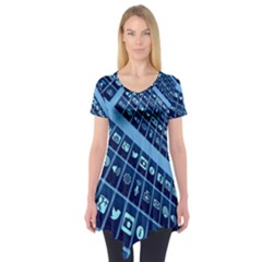 Mobile Phone Smartphone App Short Sleeve Tunic
