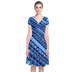 Mobile Phone Smartphone App Short Sleeve Front Wrap Dress