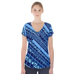 Mobile Phone Smartphone App Short Sleeve Front Detail Top