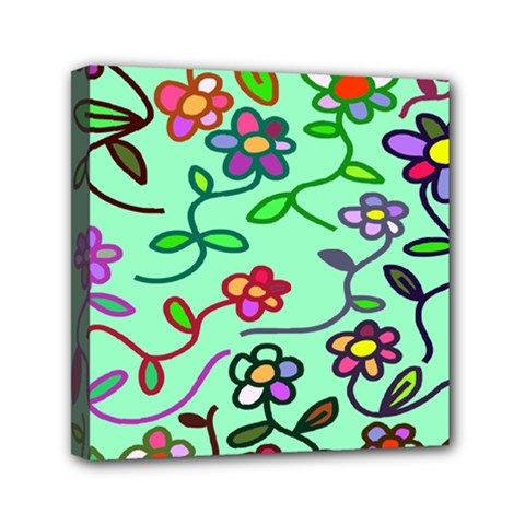Flowers Floral Doodle Plants Mini Canvas 6  X 6