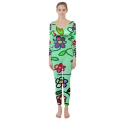 Flowers Floral Doodle Plants Long Sleeve Catsuit