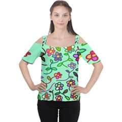 Flowers Floral Doodle Plants Women s Cutout Shoulder Tee