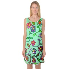 Flowers Floral Doodle Plants Sleeveless Satin Nightdress