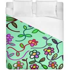 Flowers Floral Doodle Plants Duvet Cover (california King Size)