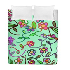Flowers Floral Doodle Plants Duvet Cover Double Side (full/ Double Size)