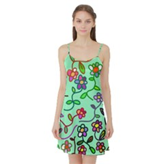 Flowers Floral Doodle Plants Satin Night Slip