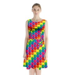 Rainbow 3d Cubes Red Orange Sleeveless Chiffon Waist Tie Dress by Nexatart
