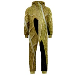 Yellow Leaf Fig Tree Texture Hooded Jumpsuit (men)