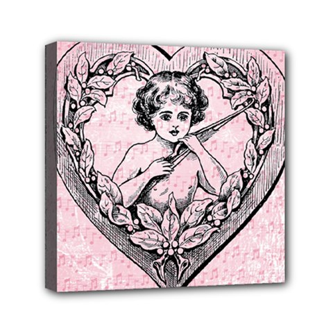 Heart Drawing Angel Vintage Mini Canvas 6  X 6  by Nexatart