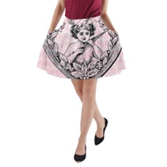 Heart Drawing Angel Vintage A-line Pocket Skirt by Nexatart