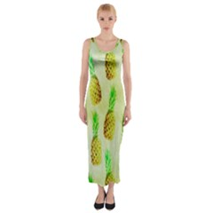 Pineapple Wallpaper Vintage Fitted Maxi Dress by Nexatart