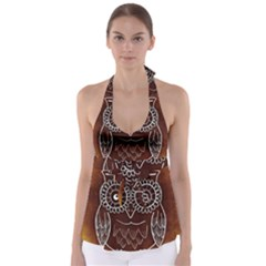 Owl Abstract Funny Pattern Babydoll Tankini Top by Nexatart