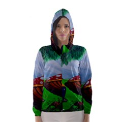 Kindergarten Painting Wall Colorful Hooded Wind Breaker (women)