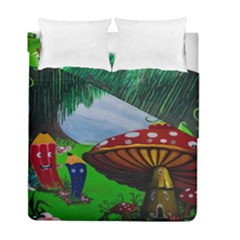 Kindergarten Painting Wall Colorful Duvet Cover Double Side (full/ Double Size) by Nexatart
