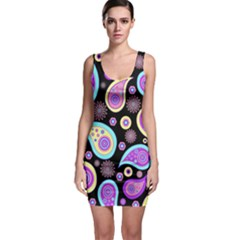 Paisley Pattern Background Colorful Sleeveless Bodycon Dress