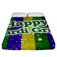 Happy Mardi Gras Poster Fitted Sheet (king Size) by dflcprints
