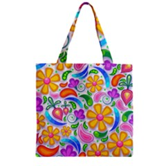 Floral Paisley Background Flower Zipper Grocery Tote Bag by Nexatart