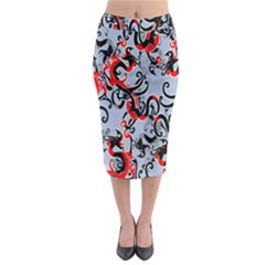 Dragon Pattern Midi Pencil Skirt by Nexatart