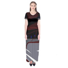 Abstraction Short Sleeve Maxi Dress by Valentinaart