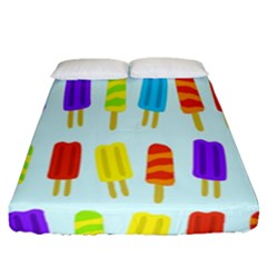 Food Pattern Fitted Sheet (queen Size) by Nexatart