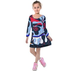 Abstraction Kids  Long Sleeve Velvet Dress by Valentinaart