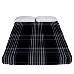 Plaid Checks Background Black Fitted Sheet (california King Size) by Nexatart