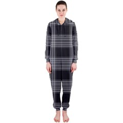 Plaid Checks Background Black Hooded Jumpsuit (ladies)  by Nexatart