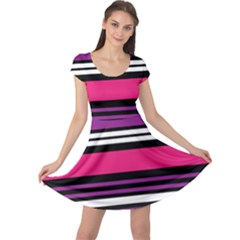 Stripes Colorful Background Cap Sleeve Dresses by Nexatart