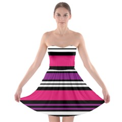 Stripes Colorful Background Strapless Bra Top Dress by Nexatart