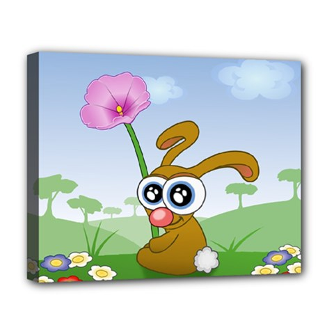 Easter Spring Flowers Happy Deluxe Canvas 20  X 16   by Nexatart