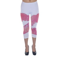 Pink Lips Capri Winter Leggings  by Brittlevirginclothing