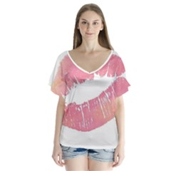 Pink Lips Flutter Sleeve Top by Brittlevirginclothing