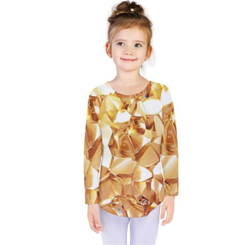 Golden Crystals Kids  Long Sleeve Tee by Brittlevirginclothing