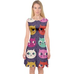 Colorful Kitties Capsleeve Midi Dress by Brittlevirginclothing