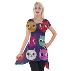 Colorful Kitties Short Sleeve Side Drop Tunic by Brittlevirginclothing