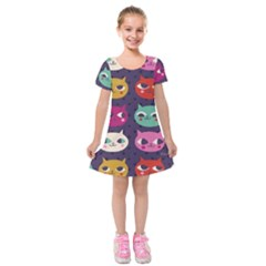 Colorful Kitties Kids  Short Sleeve Velvet Dress
