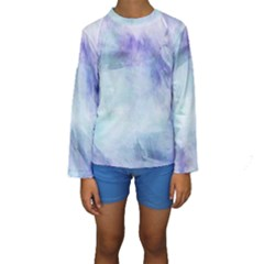 Blue Hipster Pattern Kids  Long Sleeve Swimwear by Brittlevirginclothing