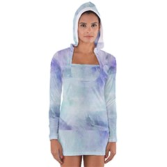 Blue Hipster Pattern Women s Long Sleeve Hooded T Shirt by Brittlevirginclothing