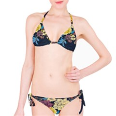 Deep Blue Vintage Flowers Bikini Set by Brittlevirginclothing