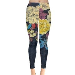 Deep Blue Vintage Flowers Leggings  by Brittlevirginclothing