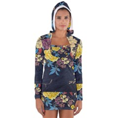 Deep Blue Vintage Flowers Women s Long Sleeve Hooded T Shirt by Brittlevirginclothing