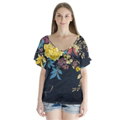 Deep Blue Vintage Flowers Flutter Sleeve Top by Brittlevirginclothing