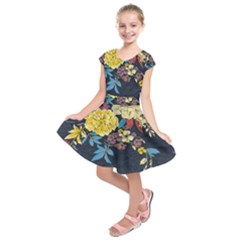 Deep Blue Vintage Flowers Kids  Short Sleeve Dress by Brittlevirginclothing