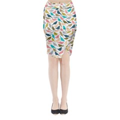 Colorful Birds Midi Wrap Pencil Skirt by Brittlevirginclothing