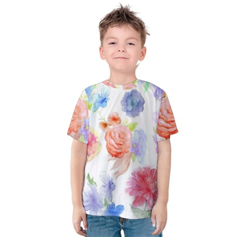 Watercolor Colorful Roses Kids  Cotton Tee by Brittlevirginclothing