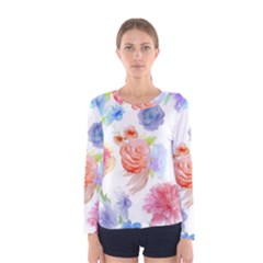 Watercolor Colorful Roses Women s Long Sleeve Tee by Brittlevirginclothing