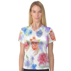 Watercolor Colorful Roses Women s V Neck Sport Mesh Tee by Brittlevirginclothing