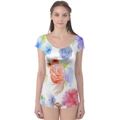Watercolor Colorful Roses Boyleg Leotard  by Brittlevirginclothing