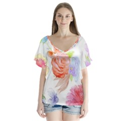 Watercolor Colorful Roses Flutter Sleeve Top by Brittlevirginclothing